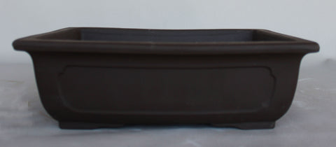 "Japanese #30-32 Dark Brown Clay Unglazed 13""L Rectangle Ceramic Bonsai Pot"
