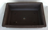 "Japanese #30-36 Dark Brown Clay Unglazed 17.75""L Rectangle Ceramic Bonsai Pot"
