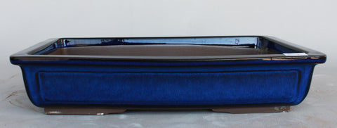 "Japanese #31-06 Royal Blue Glazed 15.6""L Rectangle Forest Ceramic Bonsai Pot"