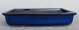 "Japanese #31-05 Royal Blue Glazed 14""L Rectangle Forest Ceramic Bonsai Pot"