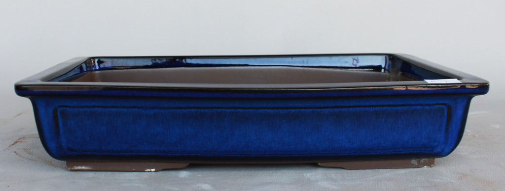 "Japanese #31-04 Royal Blue Glazed 13.25""L Rectangle Forest Ceramic Bonsai Pot"