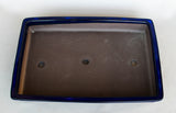 "Japanese  Royal Blue Glazed inside 11""L Rectangle Forest Ceramic Bonsai Pot"
