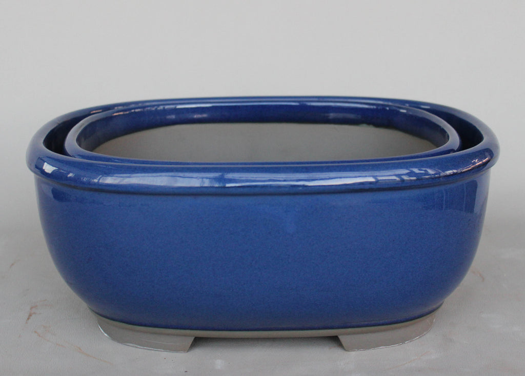 "Japanese #32-34 Blue Glazed 12.25""L Rectangular Oval Ceramic Bonsai Pot (2 Piece Set)"