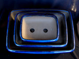 Japanese #33-11 Blue Glazed Rectangle Ceramic Bonsai Pot (3 Piece Set)