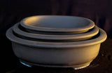 "Japanese #33-23 Brown Clay Unglazed 12""L Oval Ceramic Bonsai Pot (3 Piece Set)"