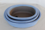 "Japanese #33-27 Sky Blue Glazed 12""L Oval Ceramic Bonsai Pot (3 Piece Set)"