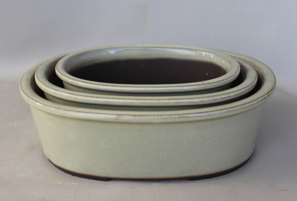 "Japanese #33-5 Creamy White Glazed 8""L Oval Ceramic Bonsai Pot (3 Piece Set)"