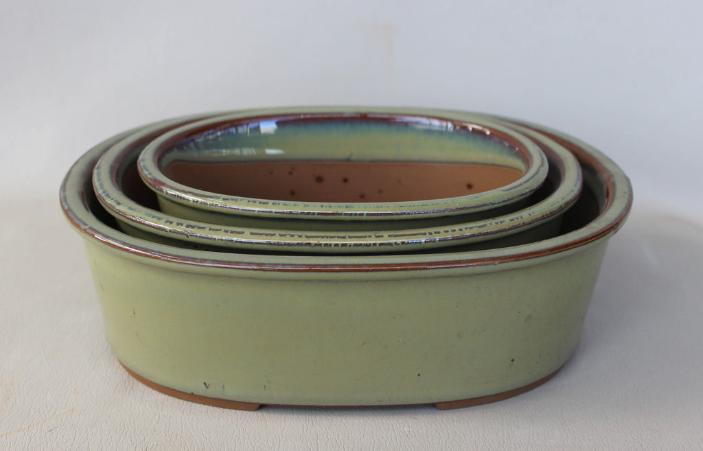 "Japanese #33-6 Olive Green Glazed 8""L Oval Ceramic Bonsai Pot (3 Piece Set)"