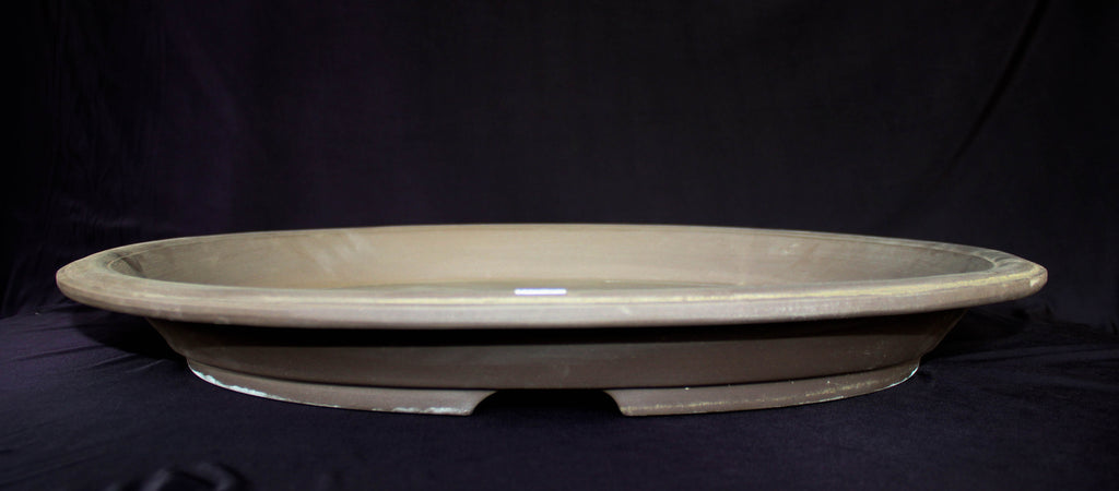 "Japanese #36-44 Brown Clay Glazed 13.5""L Oval Forest Ceramic Bonsai Pot"