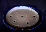 "Japanese #36-54  Royal Blue Glazed 22.5""L Oval Forest Ceramic Bonsai Pot"