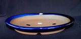 "Japanese #36-53  Royal Blue Glazed 18""L Oval Forest Ceramic Bonsai Pot"