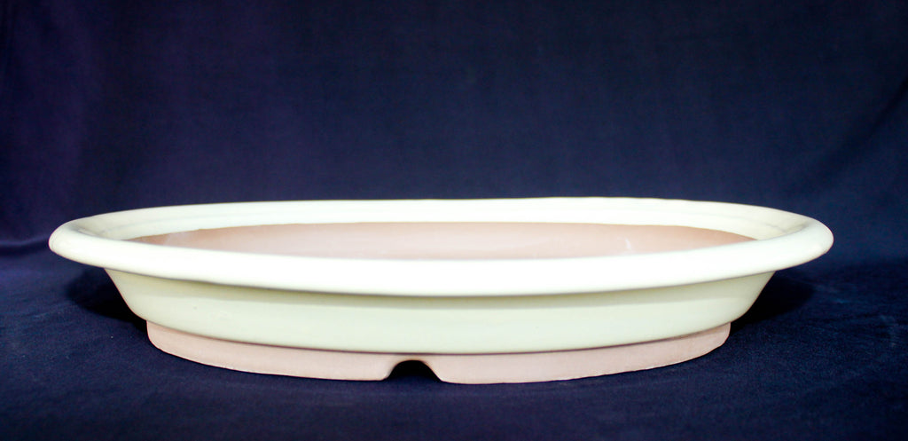 "Japanese #36-55 Creamy White Glazed 12.25""L Oval Forest Ceramic Bonsai Pot"