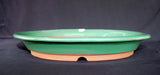 "Japanese #36-64 Olive Green Glazed 15""L Oval Forest Ceramic Bonsai Pot"