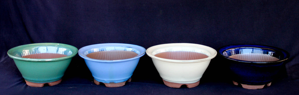 "Japanese #A05-15 Assorted Colors Glazed 6""D Flare Circle Ceramic Bonsai Pots (4 Piece Set)"