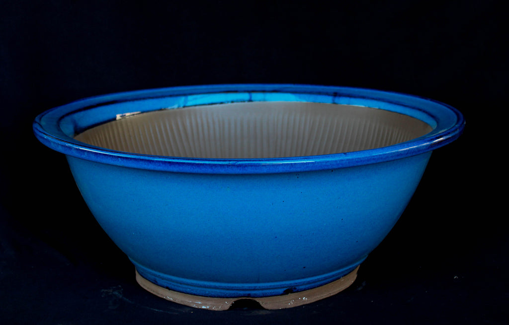 "Japanese #A16-52  Round 16""Dia  Blue Ceramic Bonsai Pot"