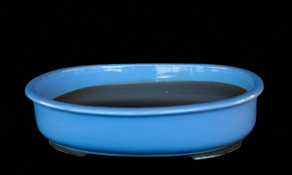"Japanese #A22- 40L Baby blue Glazed 16""L Oval Ceramic Bonsai Pot"