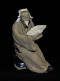 "2"" L x 2.25"" H Old Man Holding Fan Mudmen Bonsai Figurine"