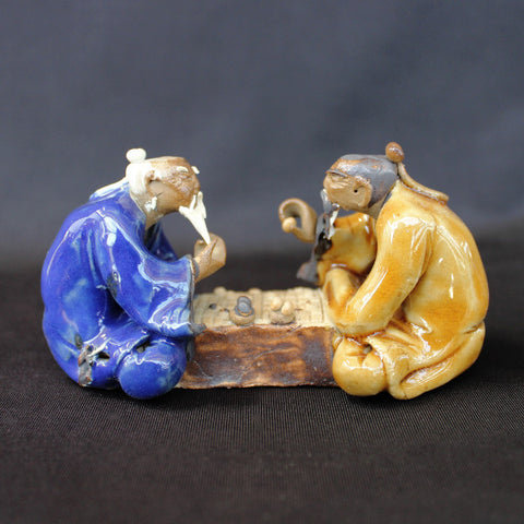 "4""L x 2.5""H Glazed Old Men Playing Chinese Chess Mudmen Bonsai Figurine"