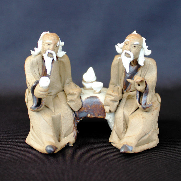 "2.5""L x 2""H Old Men Sitting On Bench Mudmen Bonsai Figurine"
