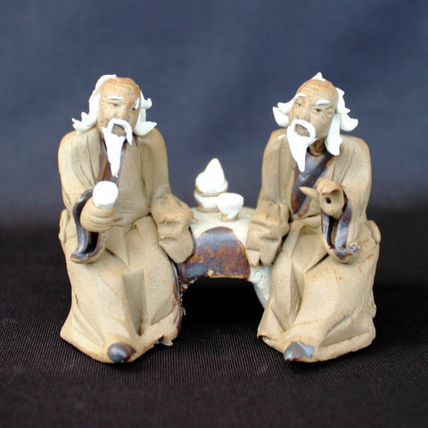 "3"" Old Men Sitting On Bench Mudmen Bonsai Figurine"