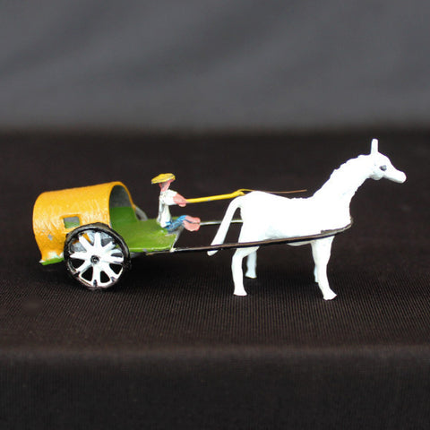 "2.5"" Horse Drawn Cart Metal Bonsai Figurine"