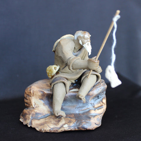 "3"" Fisherman on Rock Clay Mudmen Bonsai Figurine"
