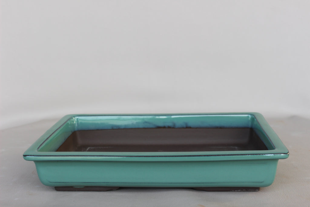 "Japanese #31-26 Olive Green Glazed 18""L Rectangle Forest Ceramic Bonsai Pot"