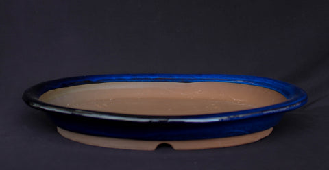 "Japanese #36-50 Royal Blue Glazed 13.5""L Oval Forest Ceramic Bonsai Pot"