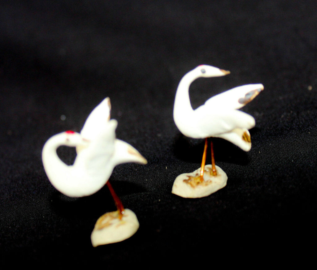 "1"" Two Cranes Mudmen Bonsai Figurines"