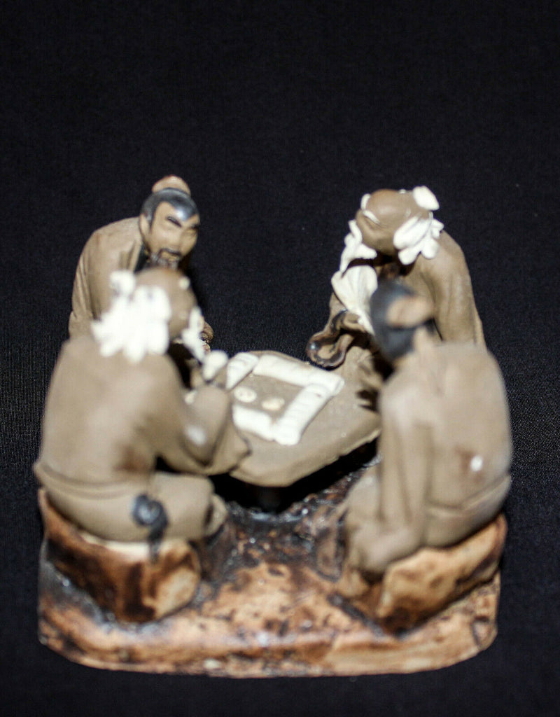 "3.5""L x 3.5""W x 2.5""H Four Old Men in Corner Playing Board Game Mudmen Bonsai Figurine"
