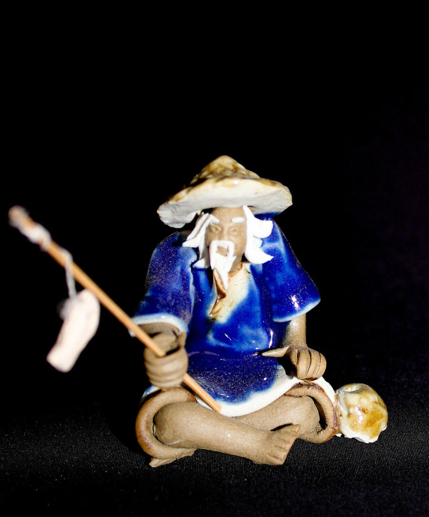 "2""H  Blue Fisherman Mudmen Bonsai Figurine"