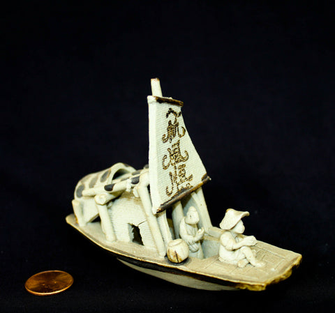 "4""L x 3""H Gray Junk Ship Clay Mudmen Bonsai Figurine"