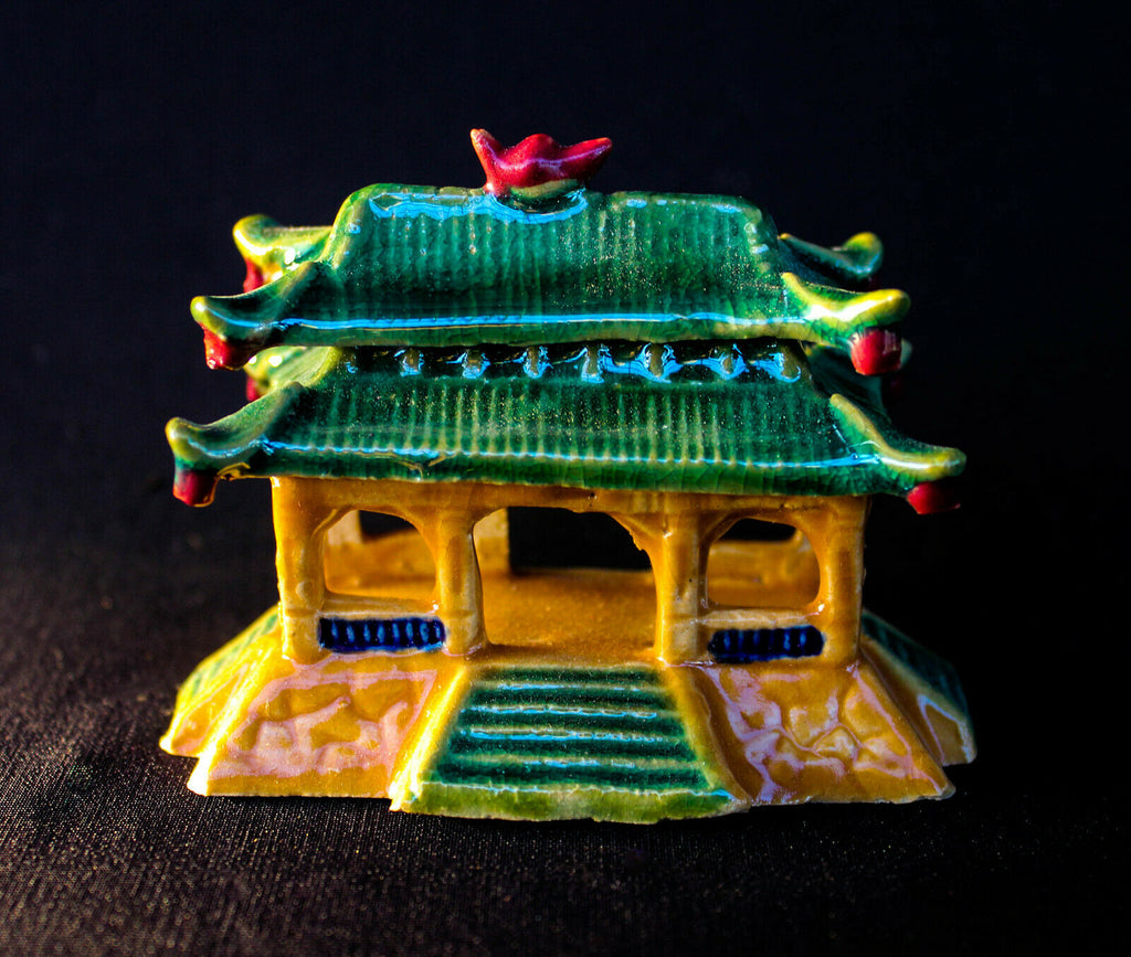 "3""L x 2.5""H Colorful Pavilion Mudmen Bonsai Figurine"