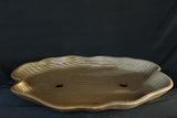 "Japanese #10-17 Dark Brown Clay Unglazed 13.5""L Irregular Oval Ceramic Bonsai Pot"