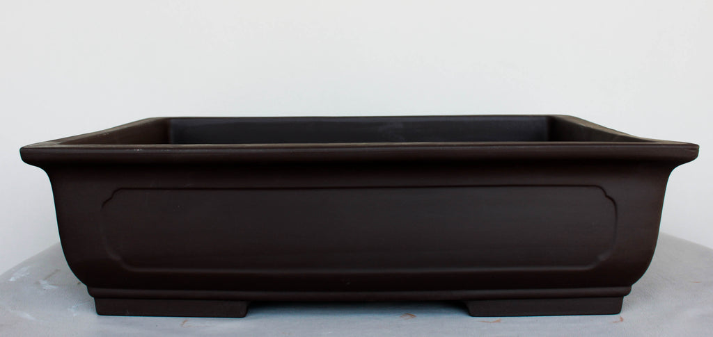 "Japanese #30-31 Dark Brown Clay Unglazed 12""L Rectangle Ceramic Bonsai Pot"