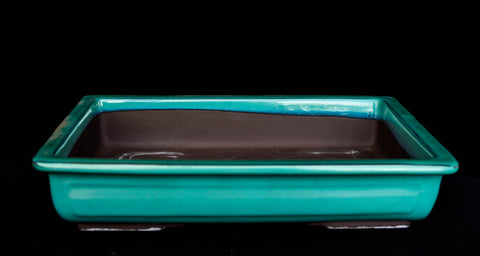 "Japanese #31-13 Teal Green Glazed 9.6""L Rectangle Forest Ceramic Bonsai Pot"