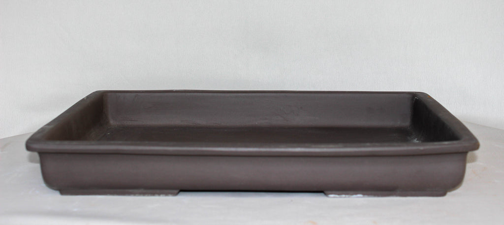 "Japanese #31-19 Brown Clay Unglazed 16.8""L Rectangle Forest Ceramic Bonsai Pot"