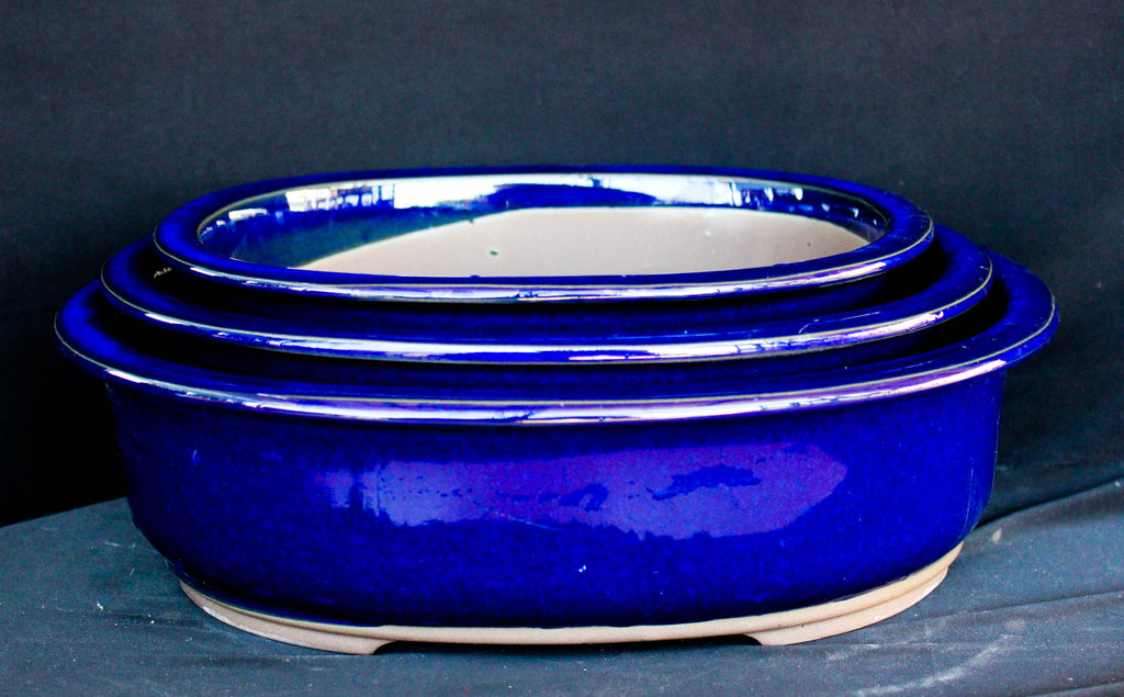 "Japanese #33-24 Blue Glazed 12""L Oval Ceramic Bonsai Pot (3 Piece Set)"