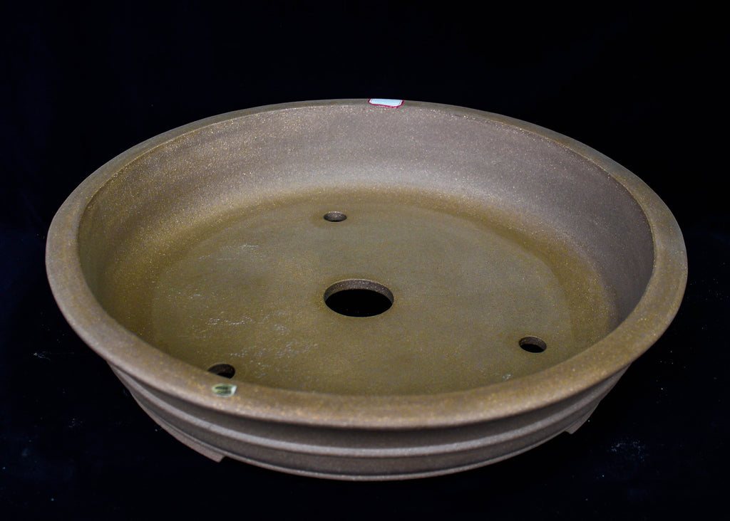 "Chinese Yixing White Sand Clay Unglazed 19.5""D Circle Ceramic Bonsai Pot"