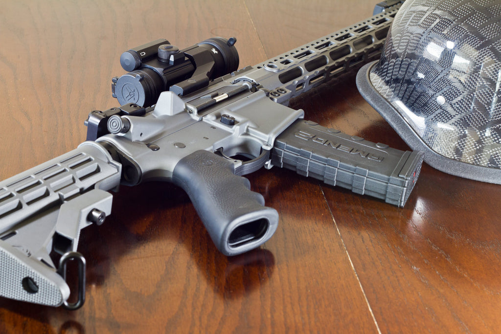 Gray Ruger AR-556 with Amend2 mag