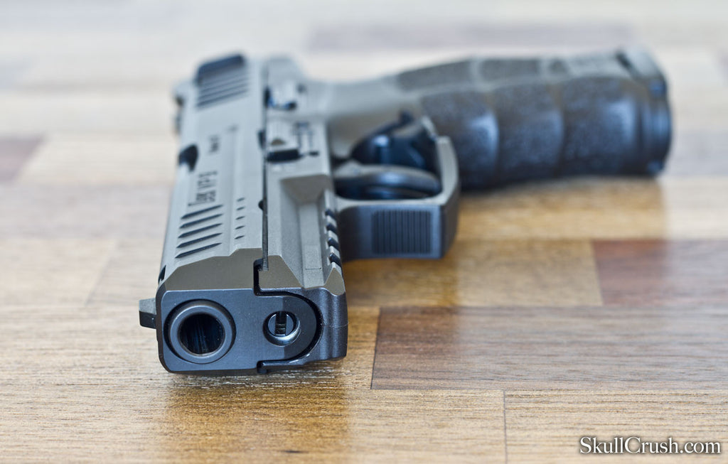 muzzle view of hk vp9 firearm