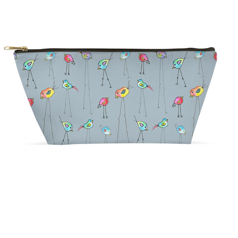 Accessory Pouch - Birds on Gray