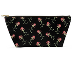 Accessory Pouch -Red Floral on Black