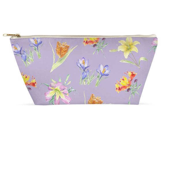 Accessory Pouch - Floral on Lavender