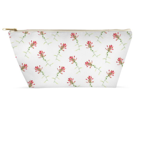 Accessory Pouch - Red Floral on White