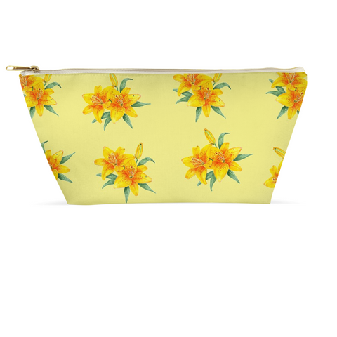 Accessory Pouch - Asian Lily on Yellow