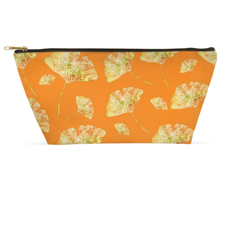 Accessory Pouch - Gingkos on Orange