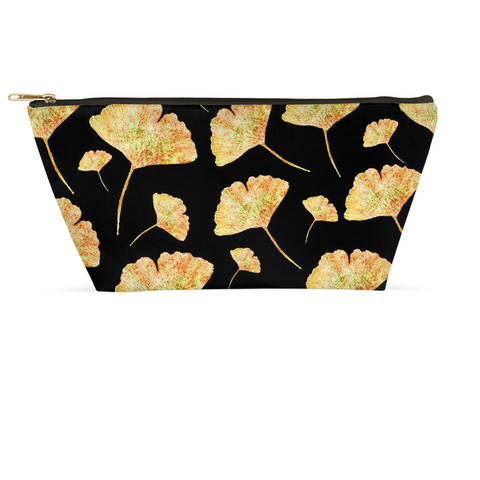 Accessory Pouch - Gingkos on Black