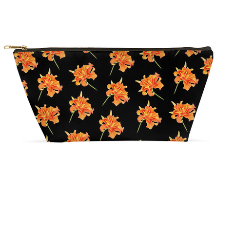 Accessory Pouch - Orange Daylily on black