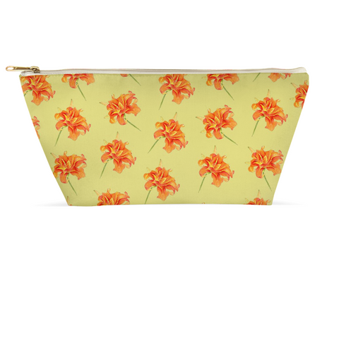 Accessory Pouch - Orange Daylily on green